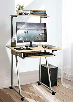 Mobile Computer Desk Small Rolling Work Workstation with Pri