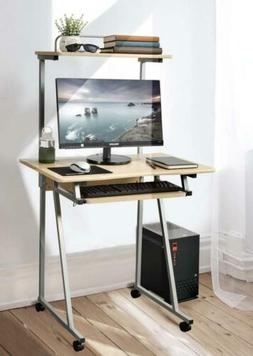 Aingoo Mobile Computer Desk Small Rolling Work Workstation w