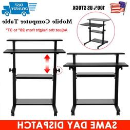 Mobile Height Adjustable Computer Sit & Stand Workstation PC