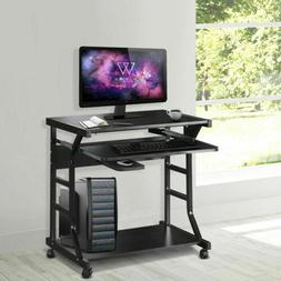Mobile Rolling Computer Desk Small Space Saver Desk Laptop P