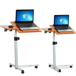 Mobile Rolling Laptop Desk Cart Stand Height Adjustable Comp