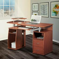 Modern Computer Desk with 2 Storage Drawers & Pullout Keyboa
