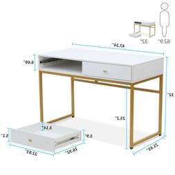Tribesigns Modern Computer Desk with Drawers 47''Writing Des