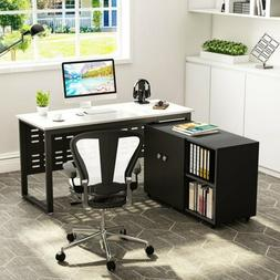 Modern Computer Desk with File Storage Cabinet Tribesigns 55