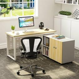 modern computer desk with file storage cabinet