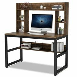 Modern Computer Desk with Hutch& Storage Shelves Home Office