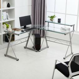 Modern L-Shape Computer Glass Desk Corner PC Laptop Workstat