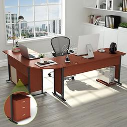 """Tribesigns 87"""" Large Modern L-Shaped Desk with Cabinet, Doub"""