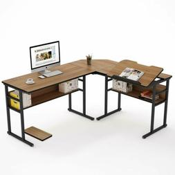 Modern L-Shaped Double Corner Computer Desk with Tiltable Ta