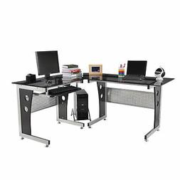"HomCom 65"" Modern Corner L-Shaped Glass Top Computer Desk Wi"