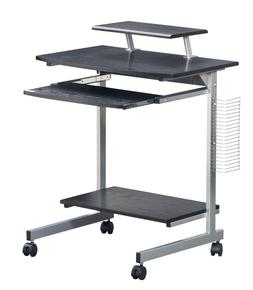 Compact Mobile Computer Desk with a Pullout Keyboard Tray an