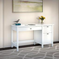 Modern Rectangular Wood Computer Desk With Drawers In Pure W