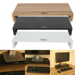 Multi-function Wooden Computer Monitor Riser Desk LED TV Sta