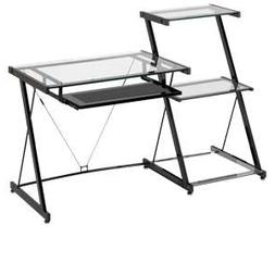 Z-Line Nero Clear Tempered Glass Desk & Bookcase