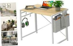 No-Assembly Folding Desk with Storage Bag and 4-Hook Small C