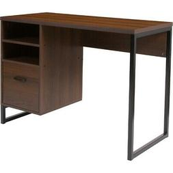 Northbrook Rustic Coffee Wood Grain Finish Computer Desk wit