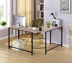Oak Wood Finish Black Metal L-Shape Corner Computer Desk PC