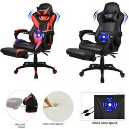 Office Chair Ribbed Sled Base Leather Swivel Ergonomic Compu
