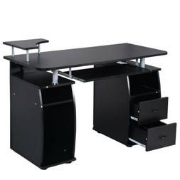 Office Computer Desk with Monitor Shelf - BLACK