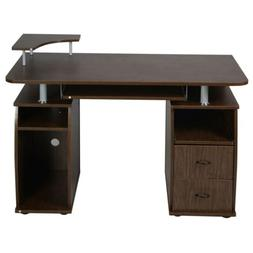 Office Computer Desk with Monitor Shelf - WALNUT color