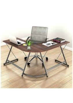 Office Corner Desk Wood Top, Walnut SHW L-Shaped Home