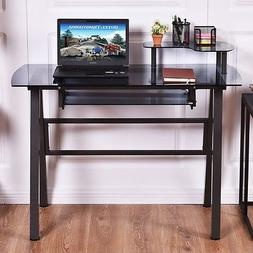 Office Home Workstation Laptop Table Glass Top Computer Desk