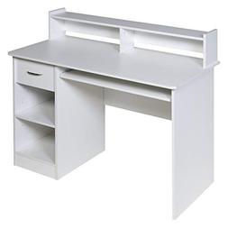 OneSpace Essential Computer Desk Hutch with Pull-Out Keyboar