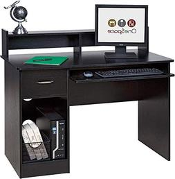 OneSpace Essential Computer Desk, Hutch with Pull-Out Keyboa