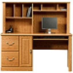 Sauder Orchard Hills Computer Desk with Hutch, Carolina Oak