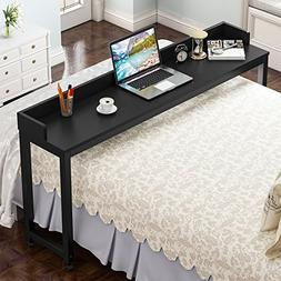 Overbed Table with Wheels, Tribesigns Mobile Desk with Heavy
