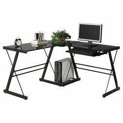 PC Glass Laptop Table Workstation Corner Home Office L-Shape
