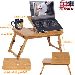 Portable Folding Desk Bamboo Laptop Computer Bed Table Stand
