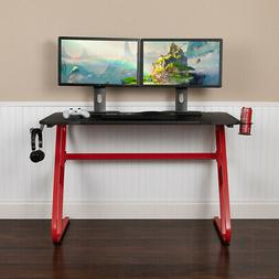Red Professional Gaming Ergonomic Desk with Cup Holder and H