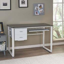 Reeve Tempered Glass Computer Desk with Storage Drawers by W