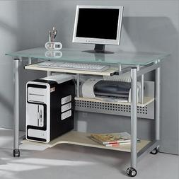 Rolling Computer Desk Glass and Silver Colored Metal Home Of