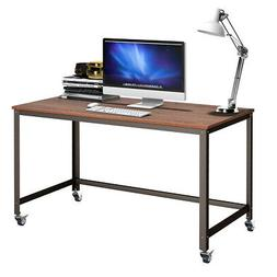 Rolling Computer Desk Metal Frame PC Laptop Table Wood Top S