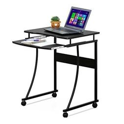Rolling Computer Desk Mobile Side Table Metal Frame with Pul