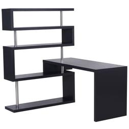 HomCom Rotating Home Office Corner Desk and Shelf Combo Blac