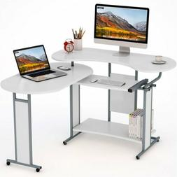 180° Rotating L-Shaped Computer Desk Modern Home Office Spa