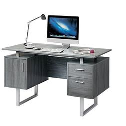 Techni Mobili RTA-7002-GRY Modern Office Desk with Storage,