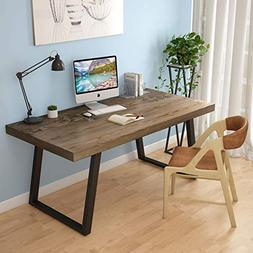"LITTLE TREE 55"" Rustic Computer Desk, Solid Wood Industrial"