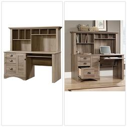Sauder Salt Oak Finish Harbor Computer Desk with Hutch Top Q