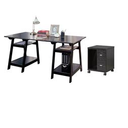 Set of 2 Computer Stand and Drawer and Home Office Desk in B