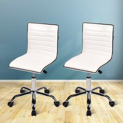 Set of 2 Low Back Office Chair Armless Ribbed Leather Swivel