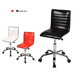 Set of 2 Office Chair Leather Ribbed Swivel Adjustable Compu
