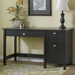Single Pedestal Desk in Espresso Oak Finish