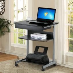 Small Rolling Computer Desk Workstation Drawer Laptop PC Tab