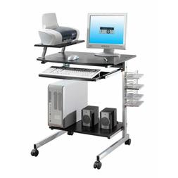 Small Space Computer Desk with Keyboard Tray Drawer and Prin