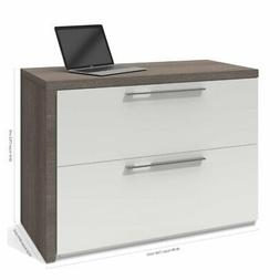 Bestar Small Space Sliding Computer Desk in Bark Gray and Wh