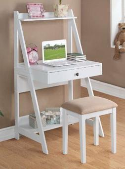 Small Space Writing Desk Set w Storage Shelves Computer Tabl